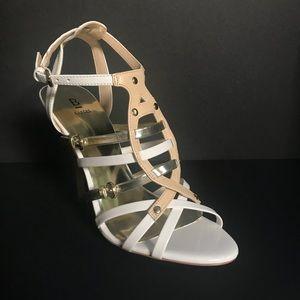 New Reena White/Gold/Tan Heels